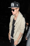 Shirtless Justin Bieber Rings In 19 During Late Night in London
