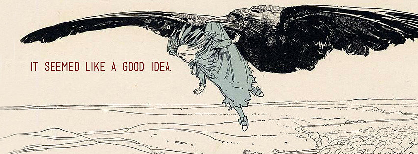 Air travel via giant bird always seems like a Good Idea . . . at first. Make no regrets with this vintage-inspired cover photo.