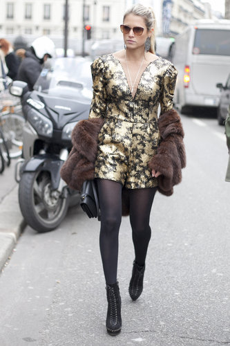 A high-wattage jumpsuit seems perfectly fitting for the streets of Paris at Fashion Week.