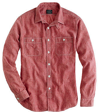 Red selvedge chambray utility shirt
