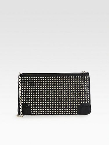 Christian Louboutin Loubiposh Leather Studded Clutch