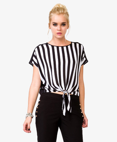 FOREVER 21 Vertical Striped Chiffon Top