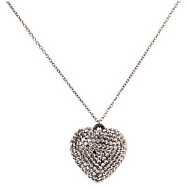 Black And Hematite Rhinestone Heart Necklace