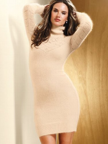 Pointelle Turtleneck Sweaterdress