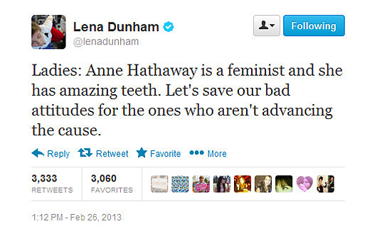 Lena Dunham defends Anne Hathaway against the post-Oscars backlash.