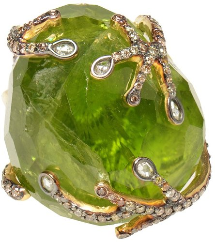 Kimberly Mcdonald Large peridot and diamond ring