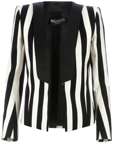 Balmain open striped blazer