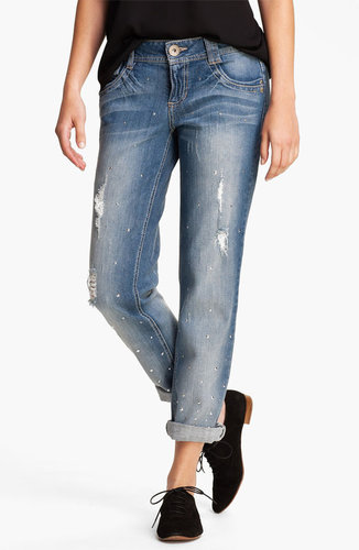 Jolt Destroyed Studded Boyfriend Jeans (Juniors)
