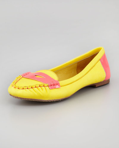 Jeffrey Campbell Neon-Trim Leather Driver, Yellow/Pink