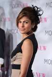 Eva selected a feathered hairpiece to top off her updo at the MOCA Anniversary Gala in 2009.