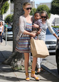 Charlize Theron gave Jackson Theron a lift as her mom, Gerda, followed.