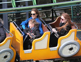 Jessica Alba and her daughter Honor took a scary seat on an amusement park ride in Paris on Sunday.