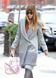 Jessica Biel carried a light pink designer bag in NYC on Saturday.