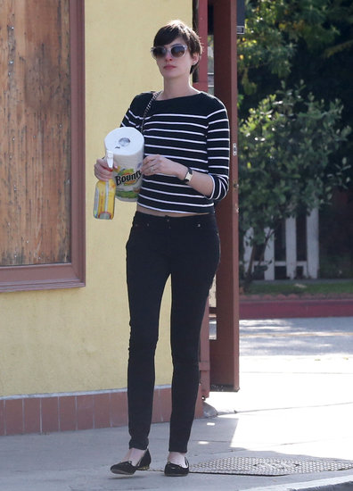 Anne Hathaway donned a striped top.