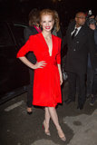 Jessica Chastain wore bright red to the Saint Laurent show on Monday.
