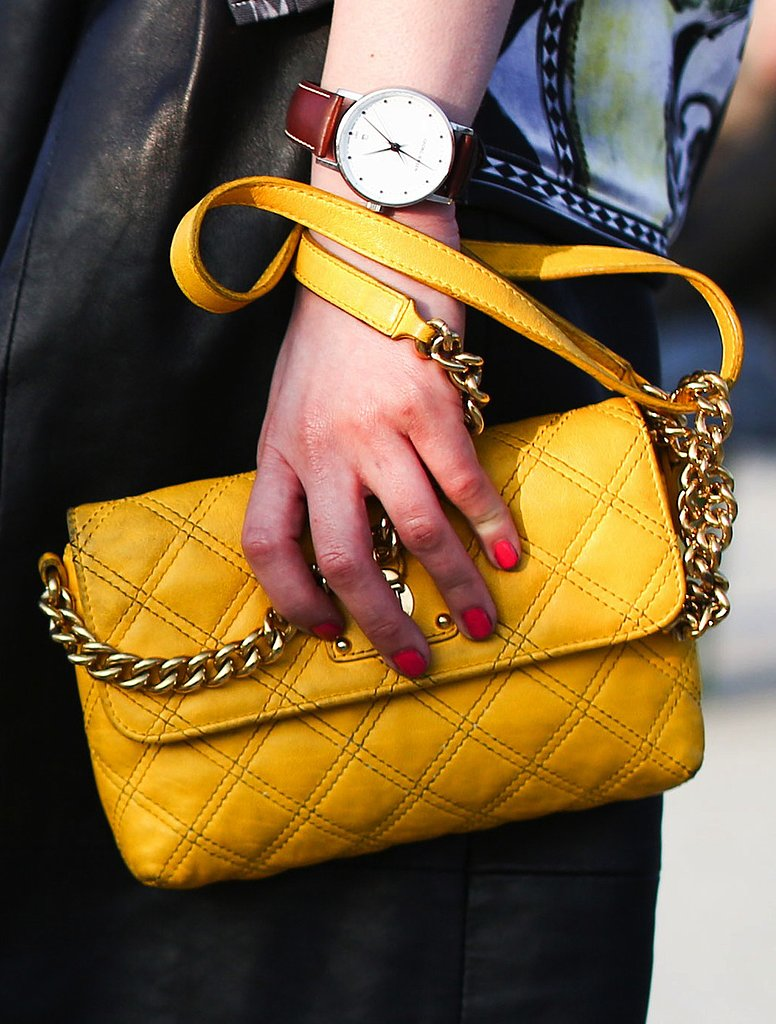 A sunny yellow quilted bag injected a little sunshine against a black leather skirt.