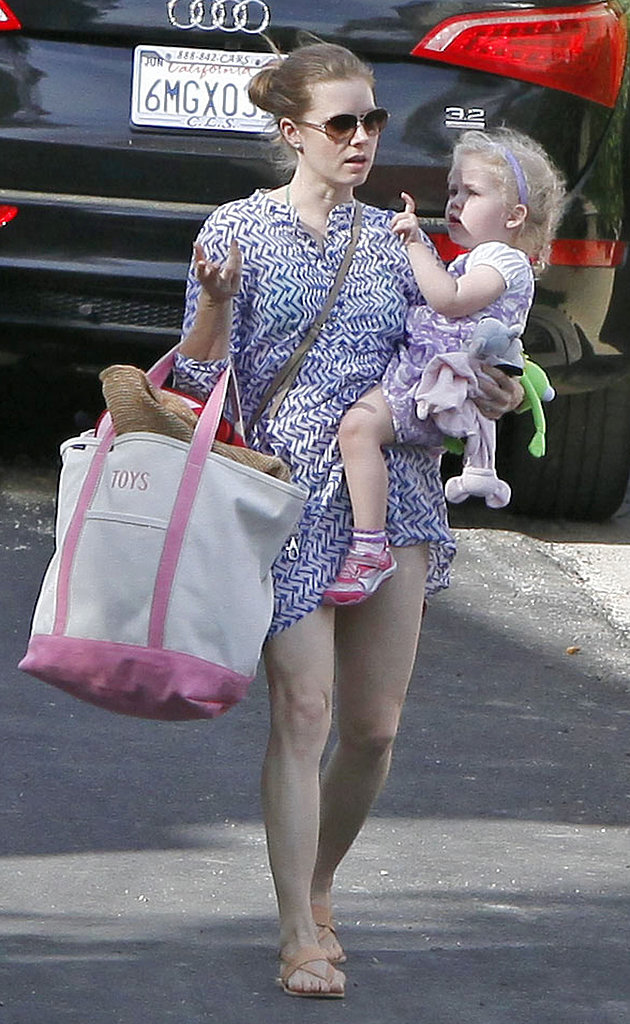 Amy Adams headed to an LA pool with her daughter, Aviana, on Saturday.