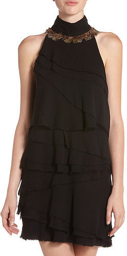 Elizabeth And James Crinkle Chiffon Halter Dress