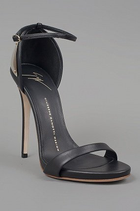 Giuseppe Zanotti Ankle Strap Heels w/Plate Black