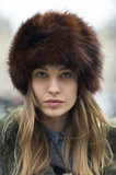 Nadja Bender's fuzzy cap kept her head warm and looking amazing. Source: Le 21ème | Adam Katz Sinding