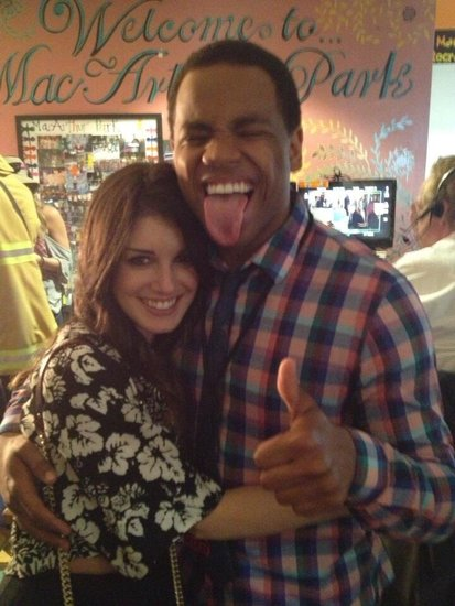 Shenae Grimes and Tristan Wilds hugged it out on the 90210 set. Source: Twitter use 90210Assistant