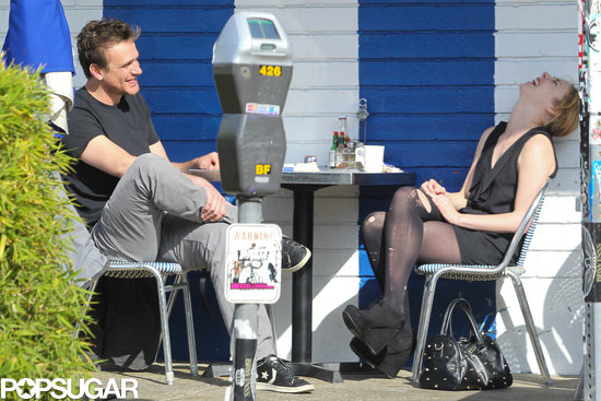 Jason Segel and his mystery blonde laughed while having lunch in LA.