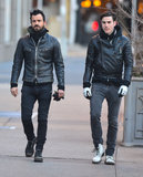 Justin Theroux wore a leather jacket.