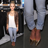 At an H&M denim event in NYC, AnnaSophia Robb took a dressy-cum-casual approach with her gold pointy pumps when she paired them with light-wash jeans and a sequined blazer.
