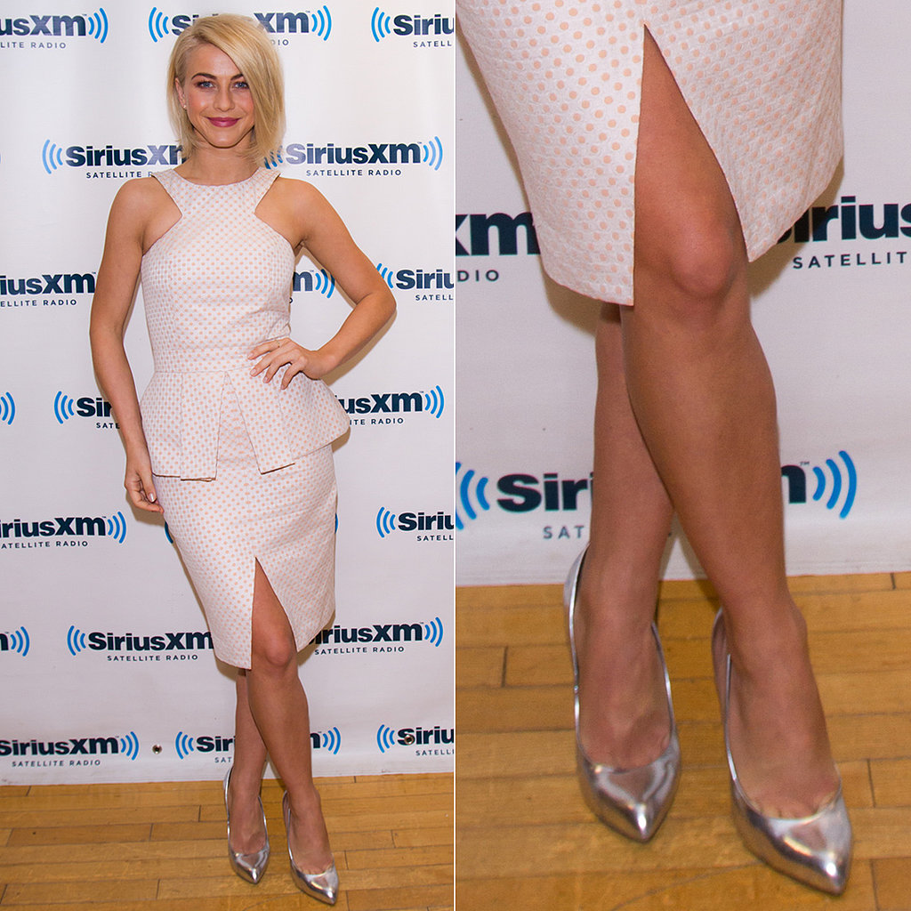 Julianne Hough completed her playful polka-dot peplum dress with silver metallic pumps while visting the SiriusXM studios in New York City.