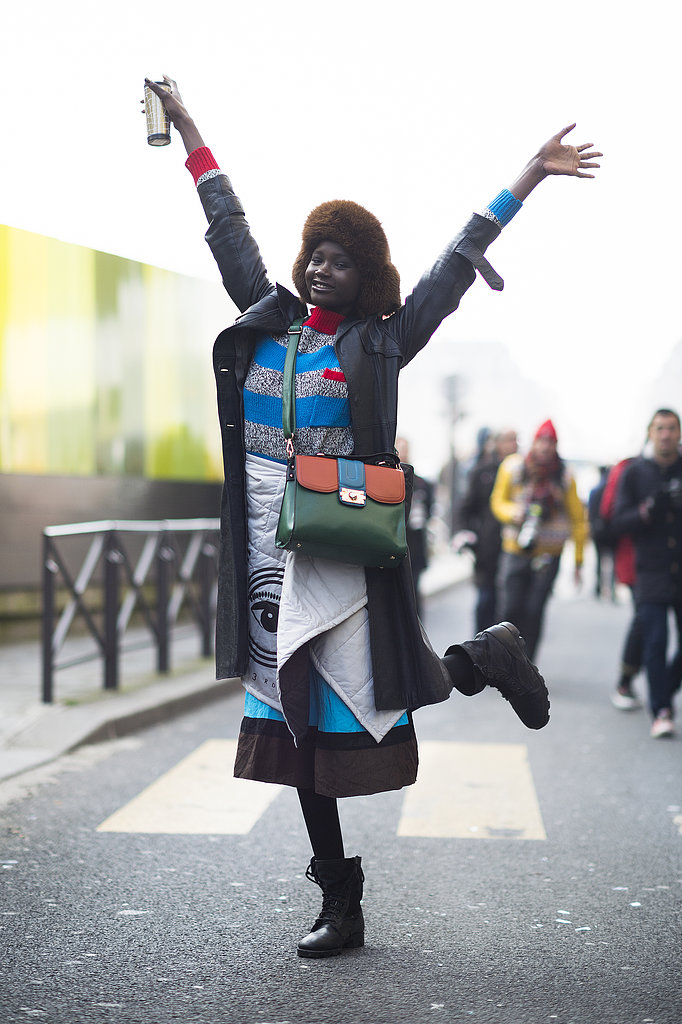 This showgoer delivered high-impact hues. Source: Le 21ème | Adam Katz Sinding