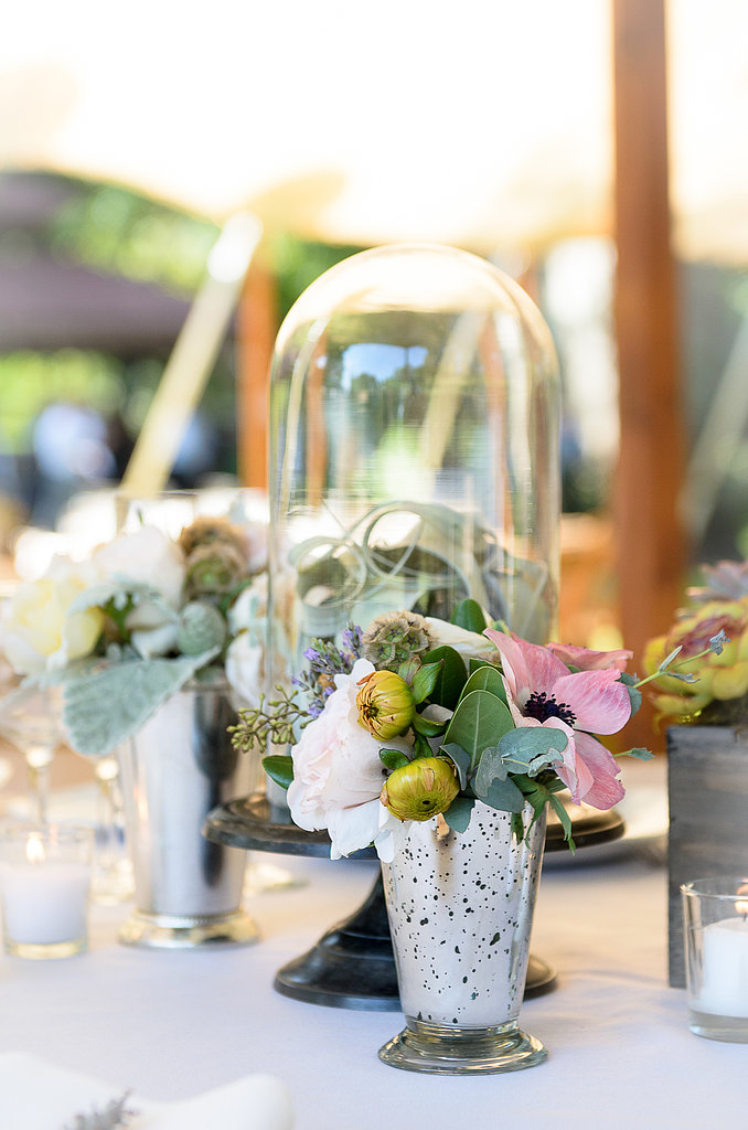 Maria Philbin Floral Design not only did the flowers, but also loaned out succulents from her personal home collection, as well as the bell jars, vintage votives, and birds' nests. Source: Juliette Tinnus