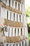 A rustic, hand-painted door displayed the table cards.  Photo courtesy of Juliette Tinnus