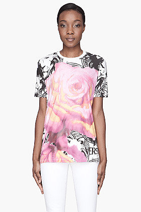 VERSUS Pink rose and logo-Printed T-Shirt