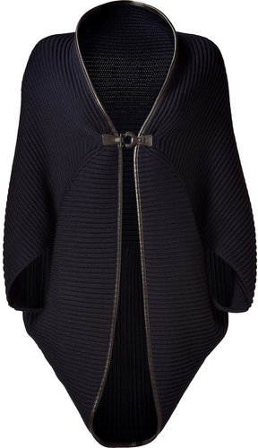 Salvatore Ferragamo Dark Blue Wool Cape with Leather Trim