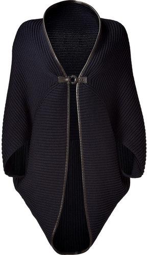 Salvatore Ferragamo Dark Blue Wool Cape with Leather Trim