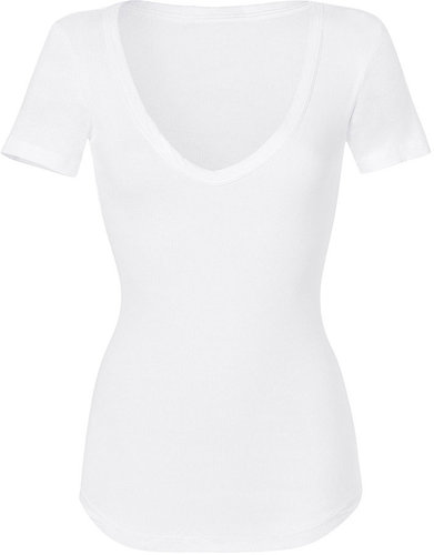 James Perse White S/S Deep V-Neck Rib T-Shirt