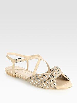 Francie Polka-Dot Leather Sandals