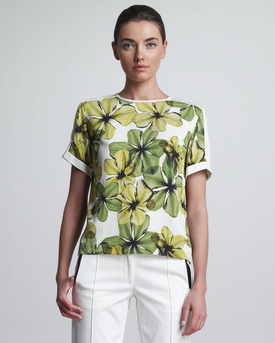 Jason Wu Flower-Print T-Shirt, Lime/Ivory