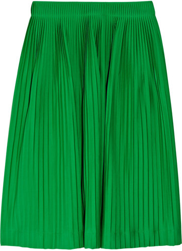 Jil Sander Liquirizia pleated stretch cotton-poplin skirt
