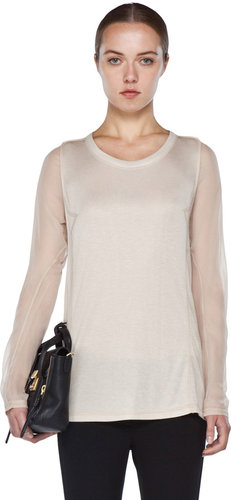 3.1 phillip lim Long Sleeve Tee in Ecru
