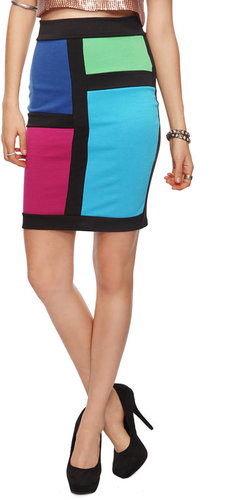 FOREVER 21 Mod Colorblock Pencil Skirt