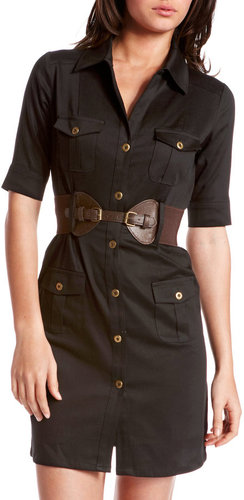 Belted Sateen Cargo Dress