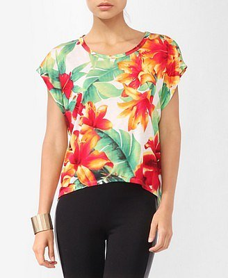Forever 21 Tropical Floral Print Top