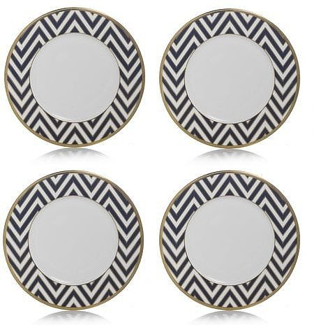 Color Studio Blue/Gold Zigzag Accent Plate, Set of 4