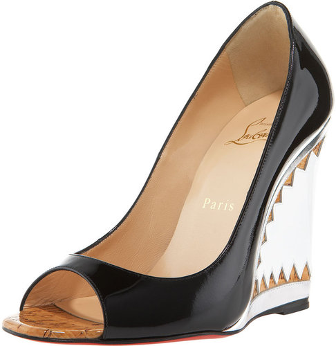 Christian Louboutin Miramar Patent & Metallic Wedge