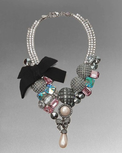 Limited-Edition Crystal Bow Statement Necklace
