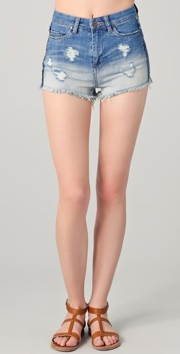 Blank denim High Waisted Shorts with Raw Hem
