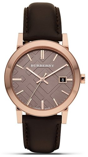 Burberry Leather Watch with Check Face, 38mm
