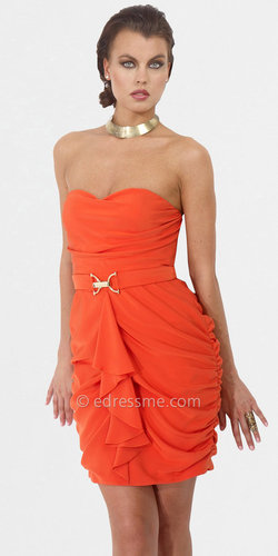 Tangerine Strapless Cocktail Dresses by Hoaglund