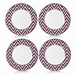 Color Studio Fuchsia/Platinum Zigzag Accent Plate, Set of 4